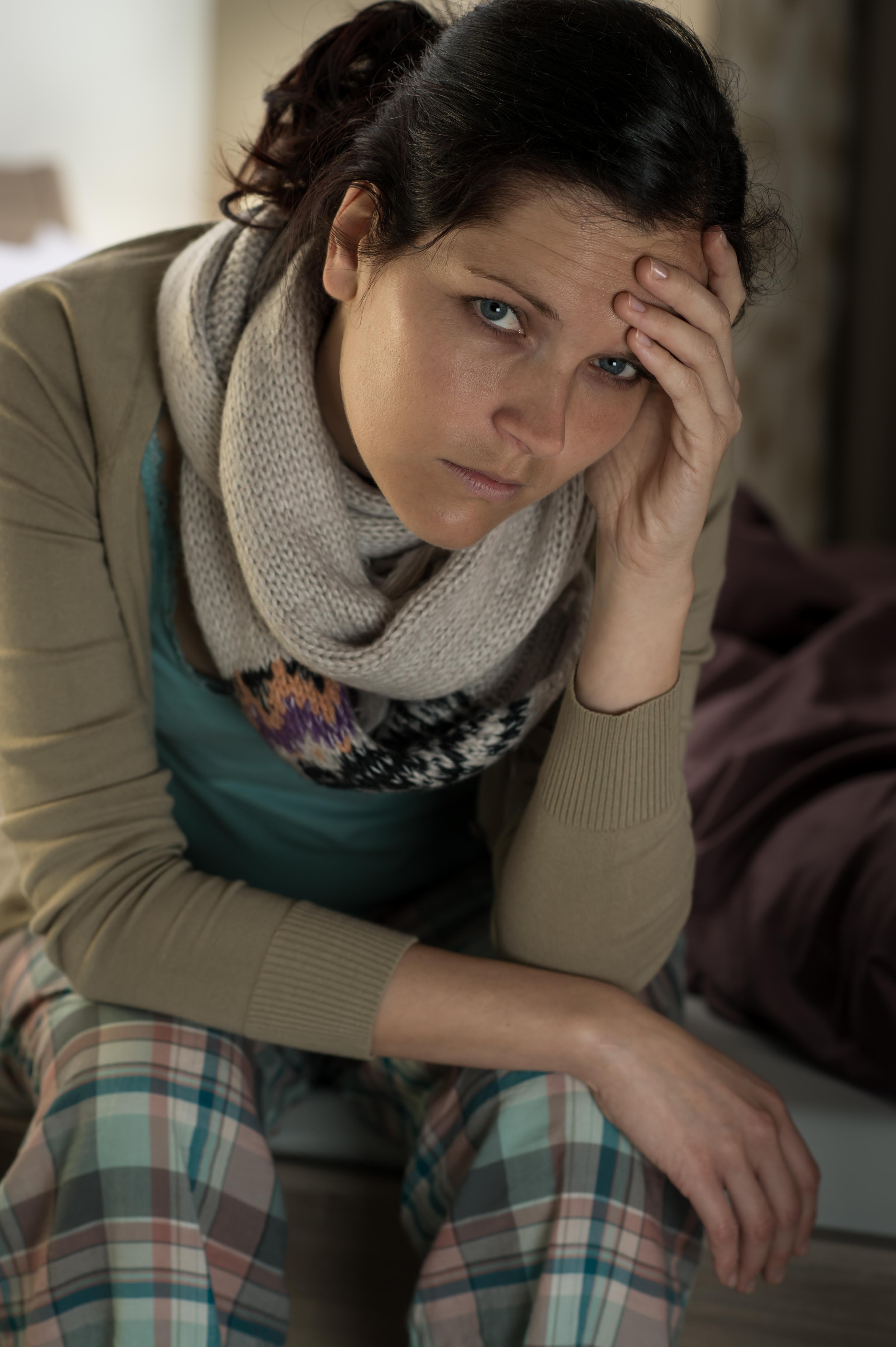 Caucasian woman feeling sick flu illness