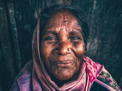 Photo of happy, elderly woman.